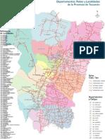 Mapa de Departamentos, Rutas y Localidades de Tucuman