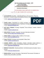 Temas de Pesquisas (Psicologia 2018.1