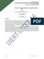 ALTERNATIVE FUEL - ENHANCEMENT IN WASTE PLASTIC OIL