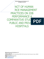 Impact of Human Resource Management Practices on Job Performance a Comparative Study on Public and Private Hospital [www.writekraft.com]