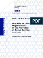 The Role of Civic Organisations in the Delivery of Services