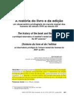MOLIER, Jean-Yves. a História Do Livro e Da Edição – Um Observatório