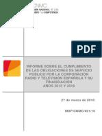 Informe de la CNMC sobre la financiación de RTVE.