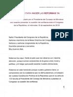 Mensaje del primer ministro César Villanueva-Voto de Confianza