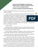 """Discurso de Socorro Gomes no 2º Seminário Internacional """"Realidades e Desafios da Proclamação da América Latina e Caribe como Zona de Paz"""""""