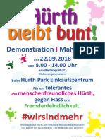 Hürth bleibt bunt! Demo 22.09.2018 Flyer