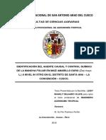 Identificación Del Agente Causal y Control Químico