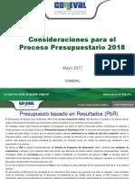 Consideraciones Para El Proceso Presupuestario 2018