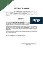 Certificado de Trabajo Cuyutupa