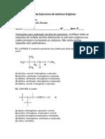 Lista de Exercícios de Química Orgânica 3ros