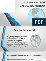 Pilipinas Bilang Bahagi Ng Mundo