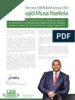 CRDB Bank Announces Abdulmajid Musa Nsekela as New Group CEO
