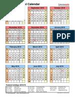 School Calendar 2018 2019 Portrait Year at a Glance