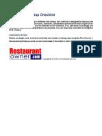 Restaurant Start Up Checklist