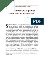 Reivindicacion de La Politica Como Etica de Lo Colectivo