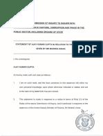 Ajay Gupta's affidavit to the State Capture Inquiry (2018)