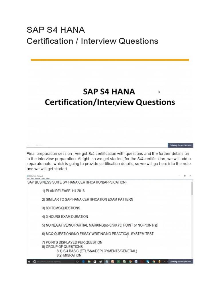 Sap S4 Hana Certification Interview Questions Test Assessment
