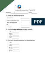 PRUEBA de educación matemática 5°