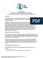 CSA B52-13 - Safety Bulletin - Maximum Refrigerant Quantities Per Occupied Space