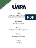 Politica Educativa y Los Organismos Internacionales