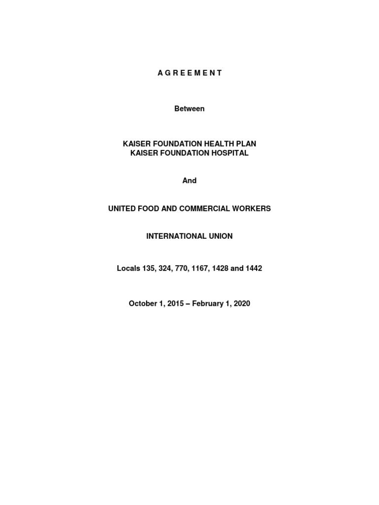 Kaiser Pharmacy International Agreement Overtime Workweek And