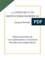 Derrida Jacques El Lenguaje y Las Instituciones Filosoficas