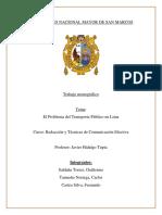Los Problemas en El Transporte Público en Lima - Monografia Avanzado FINAL