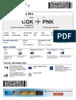 Boarding Pass Garuda Indonesia CGK - PNK