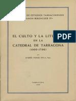 El Culto i La Liturgia en La Catedral de Tarragona