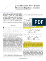 """Deglorifying"" the Maximum Power Transfer Theorem and Factors in Impedance Selection"