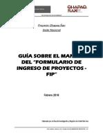 Guía del Formulario de ingreso de proyectos