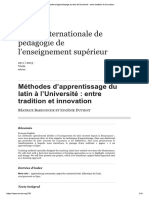Methodes Apprentissage Latin Universite