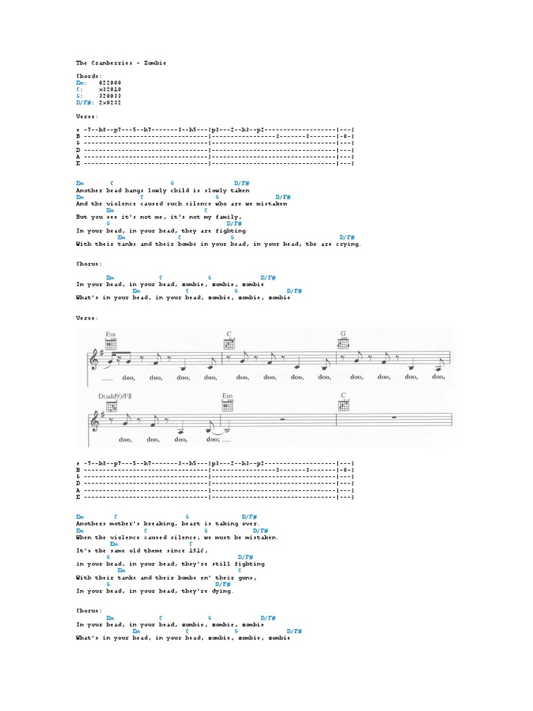 The Cranberries Zombie Guitarra Chords Song Structure Songs