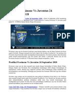 Prediksi Frosinone vs Juventus 24 September 2018