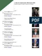 Presidentes de México y Jefes de Estado Desde 1824 Hasta 2018