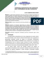EM BUSCA DA GOVERNANÇA PARTICIPATIVA EM CONTEXTOS METROPOLITANOS