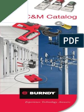 2 AWG Cable Tap Burndy B-246 BCC-2 Type Horizontal Cable Tap to Horizontal Cable Run Mold Splice 4//0 AWG Cable Run