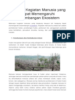 Berbagai Kegiatan Manusia Yang Dapat Memengaruhi Keseimbangan Ekosistem