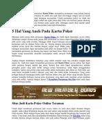 5 Hal Yang Aneh Pada Kartu Poker