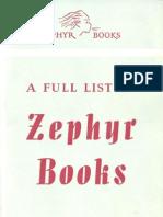 A Full List of Zephyr Books