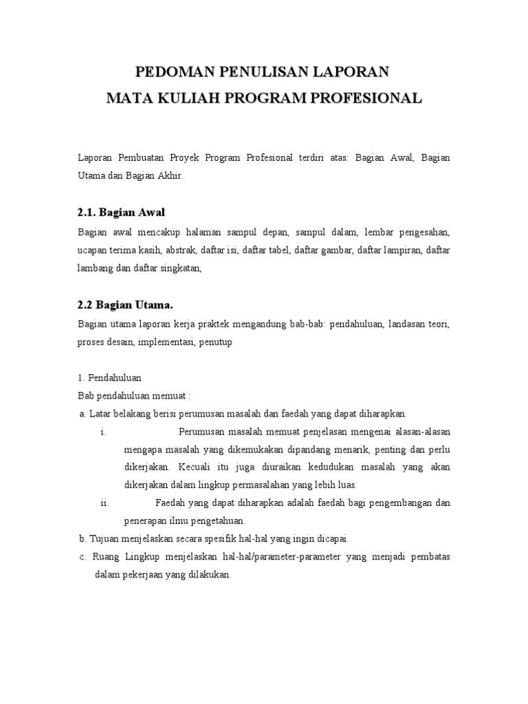 Pedoman Penulisan Laporan Mata Kuliah Program Profesional