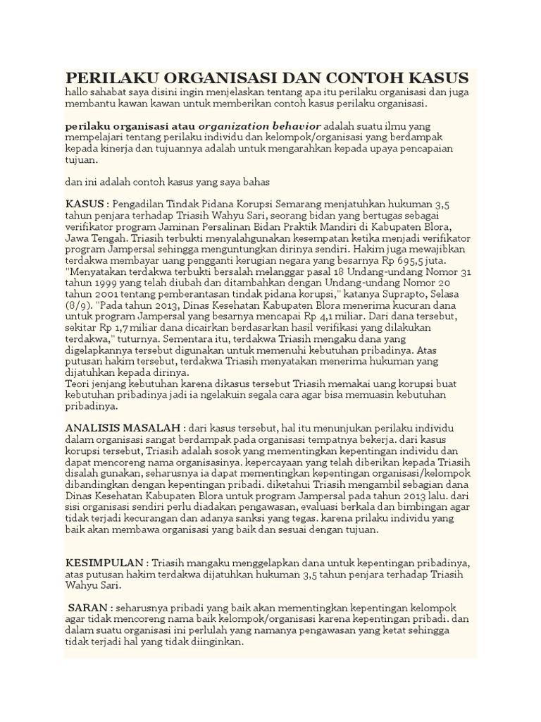 Perilaku Organisasi Dan Contoh Kasus Docx