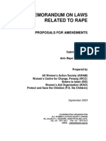 Anti Rape Task Force Memorandum on Laws Related to Rape Dated September 2003