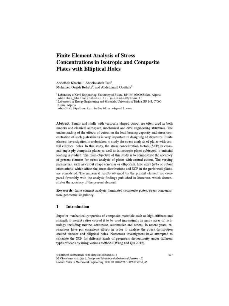 Finite Element Analysis of Stress Concentrations in Isotropic and