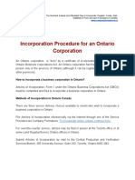 Incorporation Procedure for an Ontario Corporation