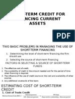 Short Term Credit for Financing Current Assets