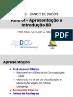 Aula01-BD1 - Apresentação e Introdução BD