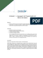 Unidade 1 – Linguagem de Programação Em Banco de Dados – Programação Em Banco de Dados