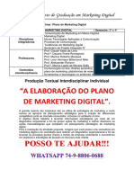 UNOPAR Plano de Marketing Digital 3 e 4 Semestre