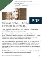 Quem Foi Thomas Emlyn_ Por Que Ele Rejeitou a Trindade